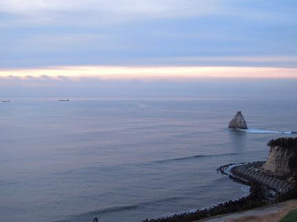 小名浜港の美しい朝焼け